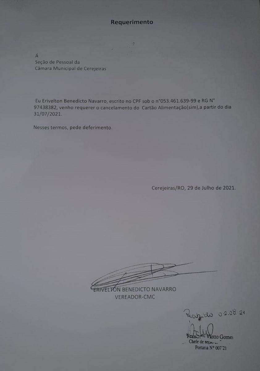 Requerimento protocolando pelo vereador Erivelton Navarro em 02 de agosto de 2021