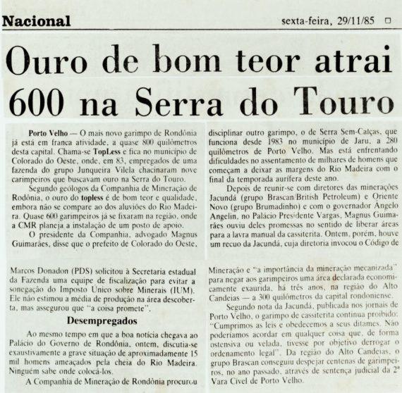 Matéria no Jornal do Brasil, do Rio de Janeiro, em 29/11/85.