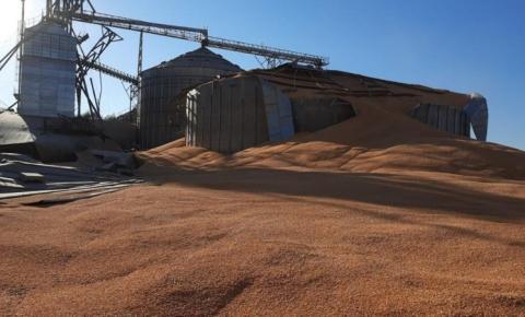Silo com 250 toneladas de grãos estoura e assusta funcionários de fazenda