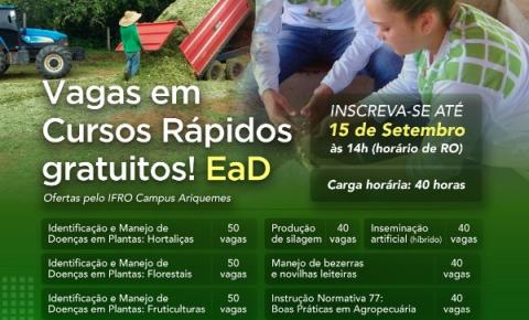 IFRO oferta 260 vagas para cursos FIC voltados para a Agropecuária